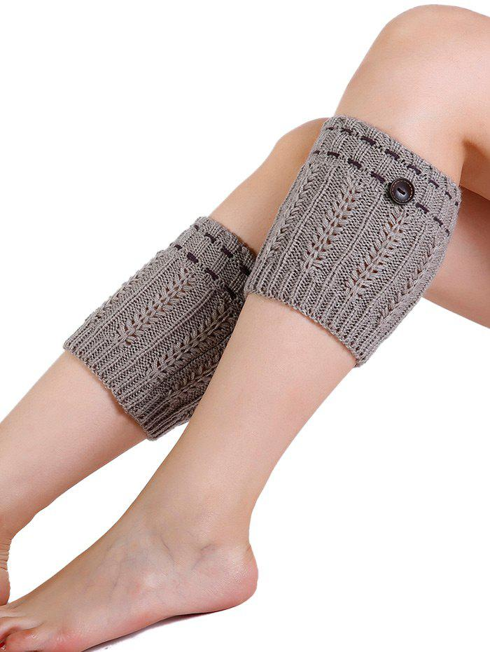 Soft Button Embellished Crochet Knitted Leg Warmers - LIGHT GRAY