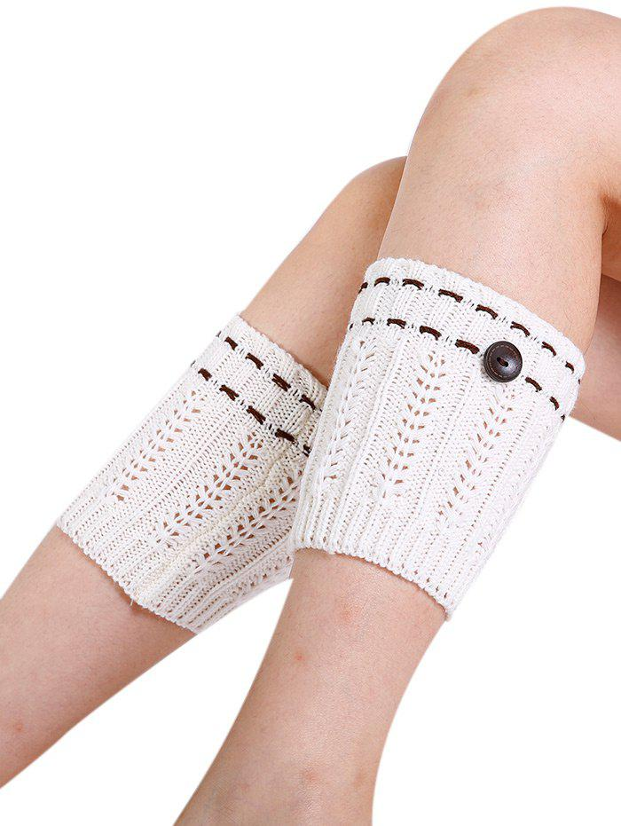 Soft Button Embellished Crochet Knitted Leg Warmers - WHITE