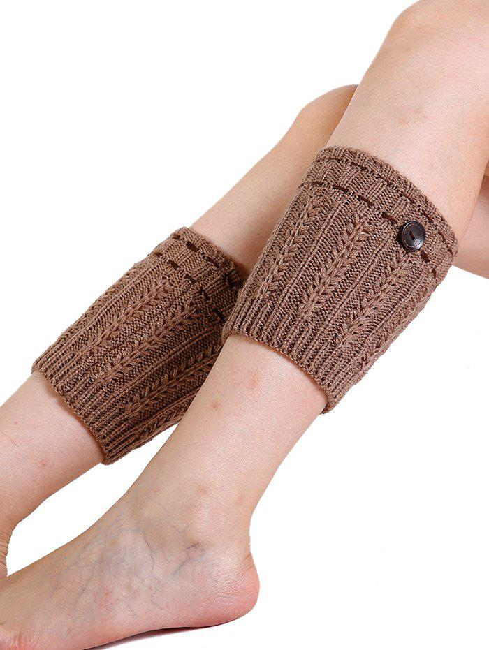Soft Button Embellished Crochet Knitted Leg Warmers - KHAKI