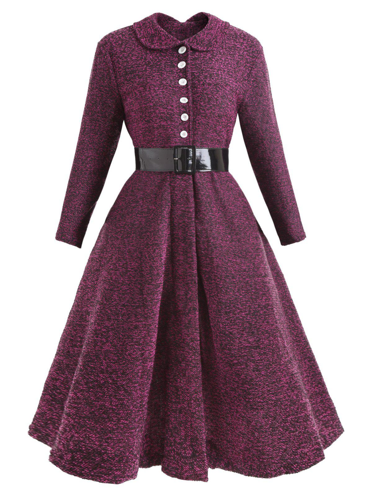 Button Collared Belted Vintage Dress - PURPLE 2XL