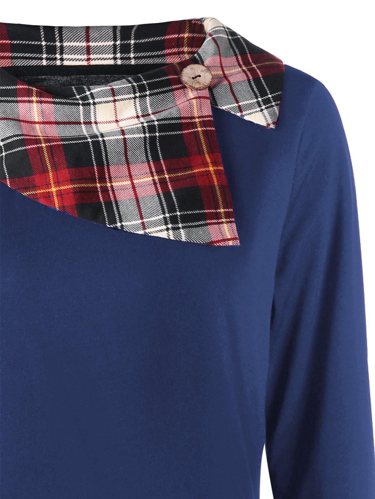 Plus Size Plaid Trim Asymmetrical Top - BLUE 3XL