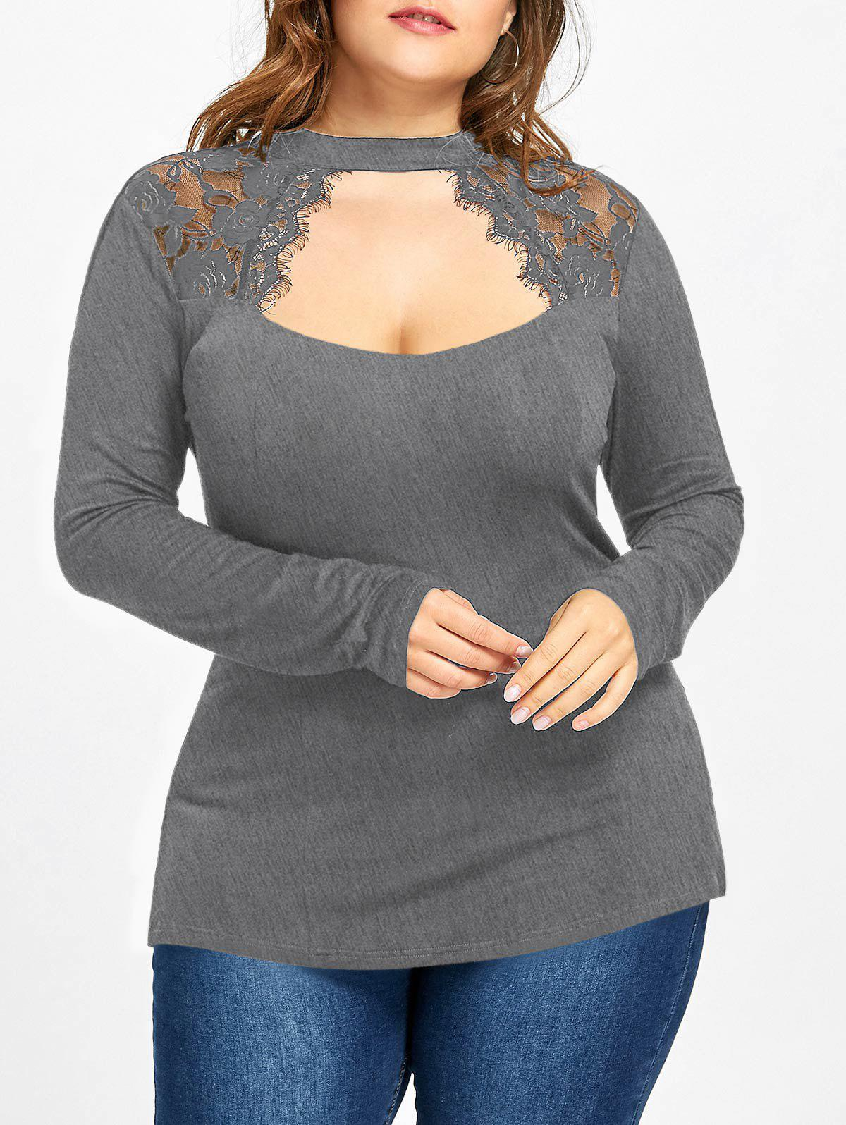 Plus Size Lace Panel Keyhole Top - DARK HEATHER GRAY 5XL