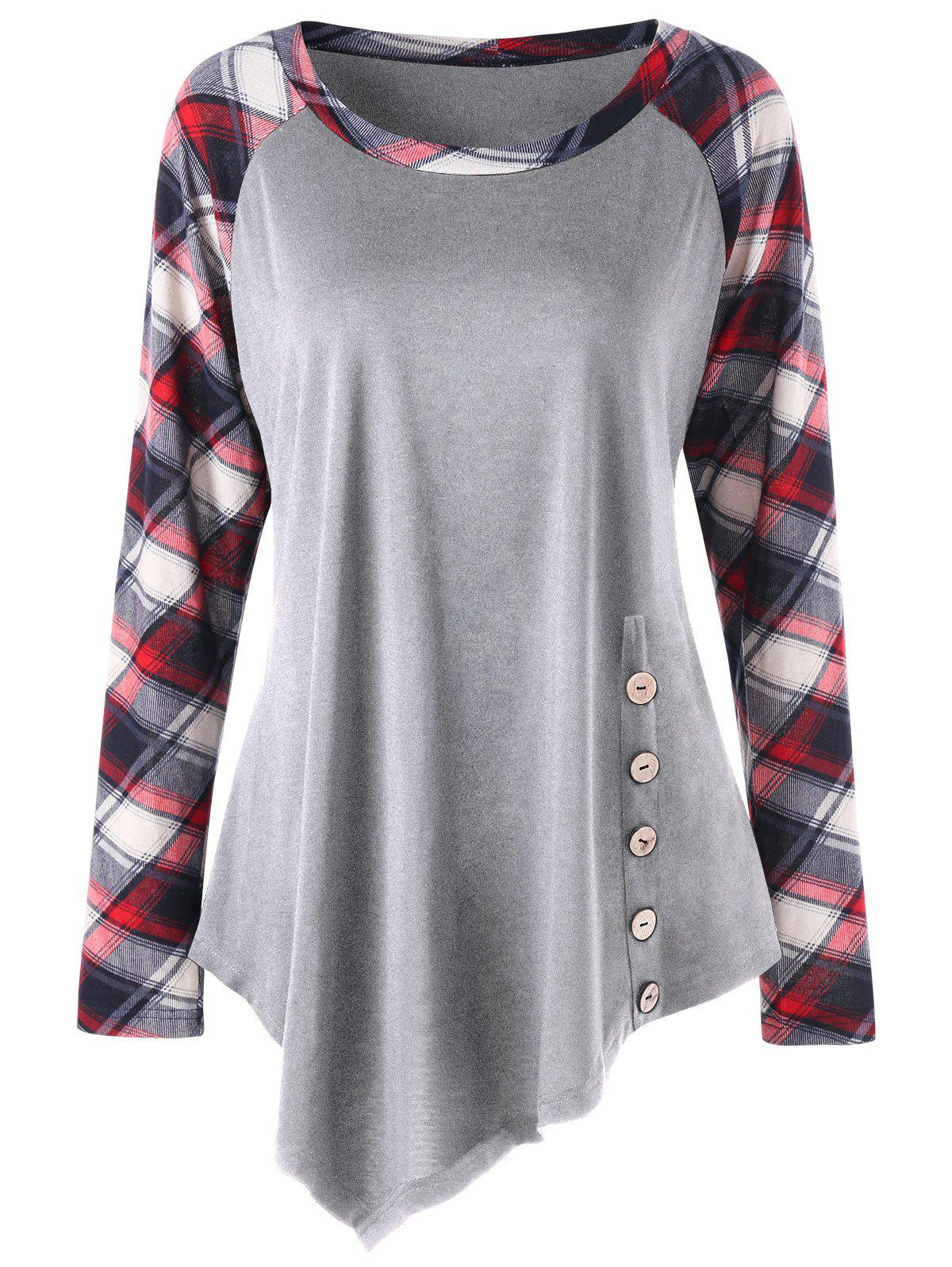 Plus Size Plaid Panel Raglan Sleeve Asymmetric Top юбка ice iceberg бежевый
