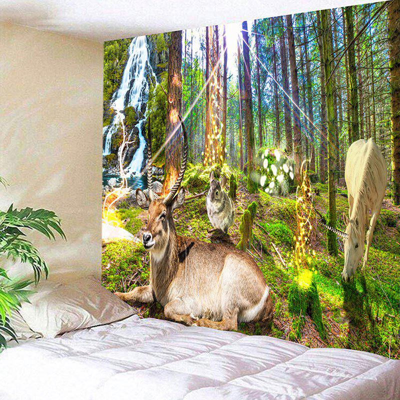Animals Forest Print Wall Decor Hanging Tapestry - GREEN W59 INCH * L51 INCH