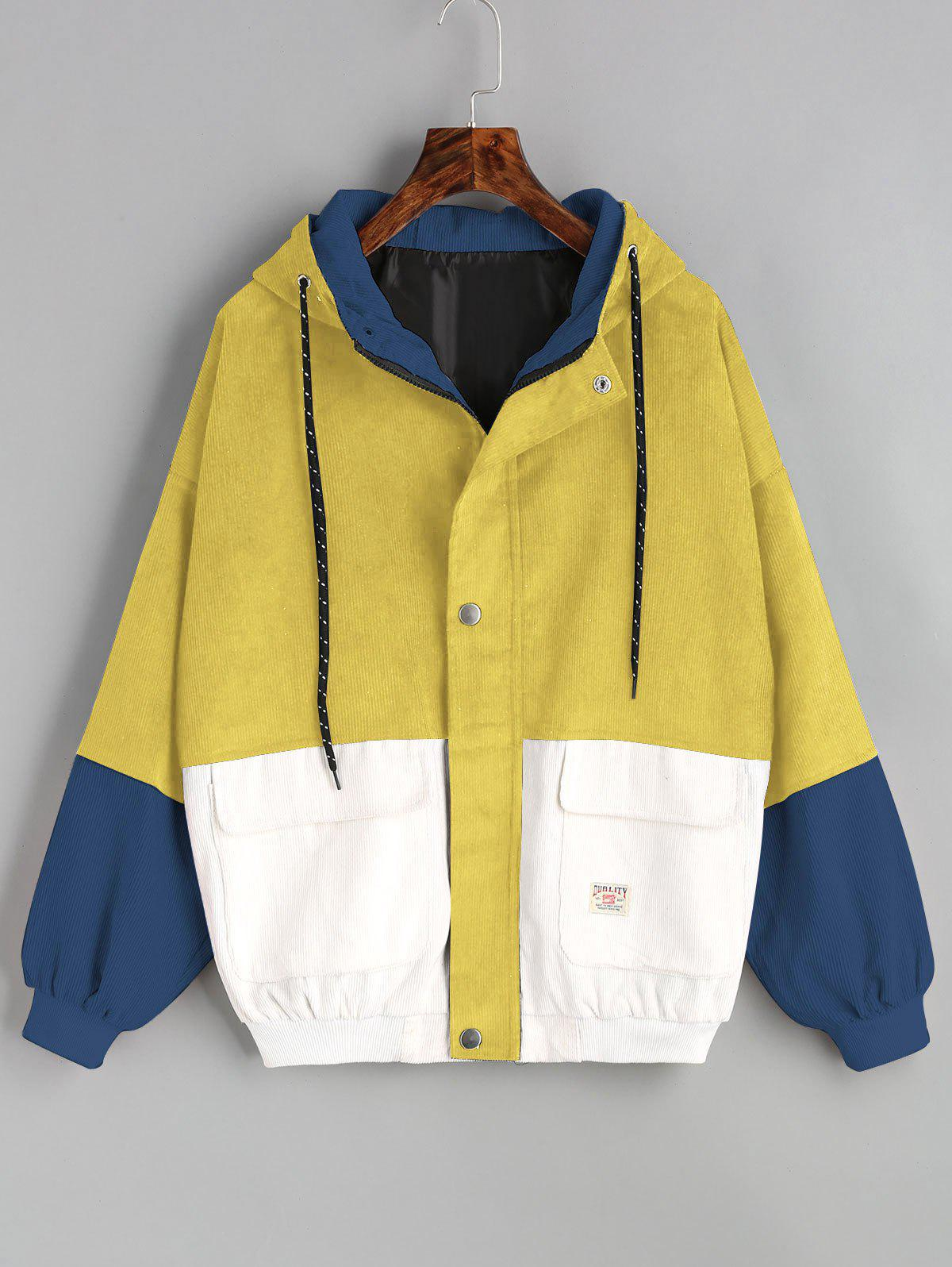 Color Block Hooded Corduroy Jacket - YELLOW S