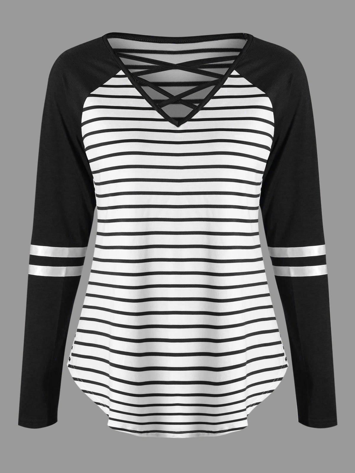 Lattice Neck Striped Curved Top - BLACK XL