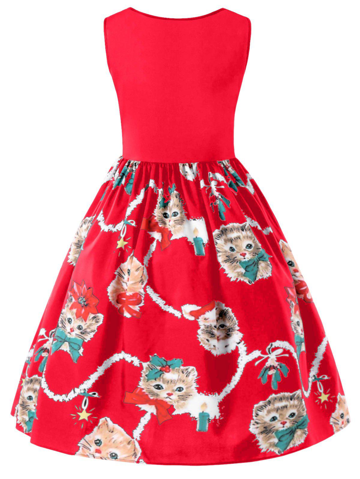 Kitten Print Sleeveless Fit and Flare Dress - RED 2XL