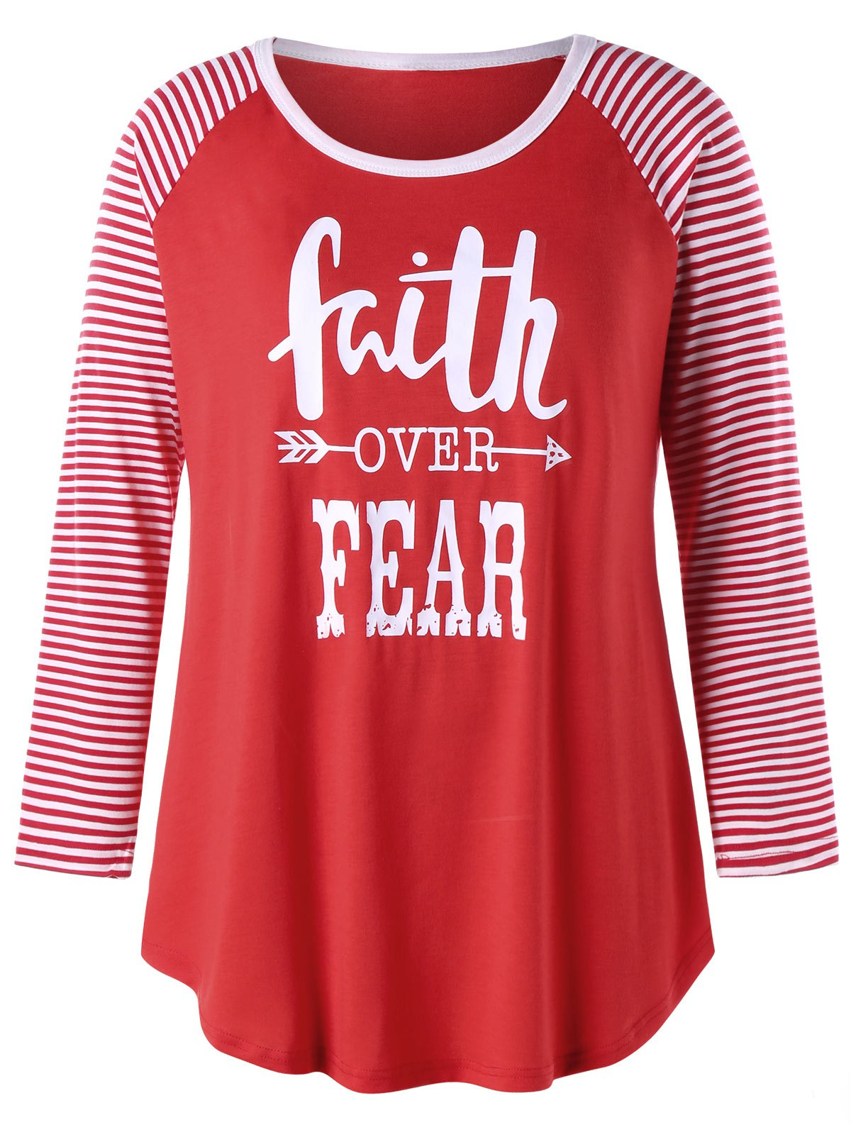 Tee-shirt de baseball à taille haute Faith Over Fear - Rouge 4XL