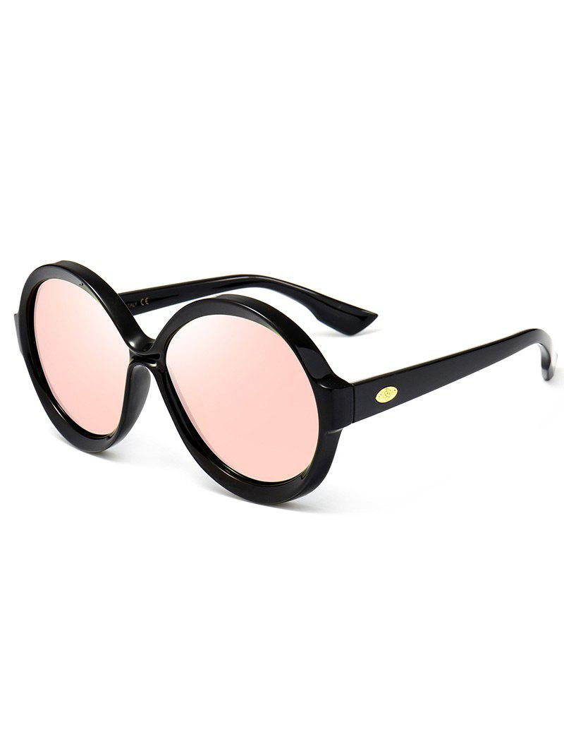 Anti-UV Full Frame Decorated Round Sunglasses - PINK