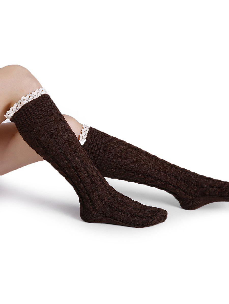 Soft Lace Brim Crochet Knitted Stockings - LIGHT COFFEE