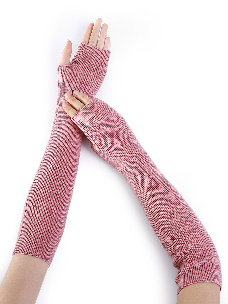 Soft Striped Pattern Knitted Fingerless Gloves - PINK