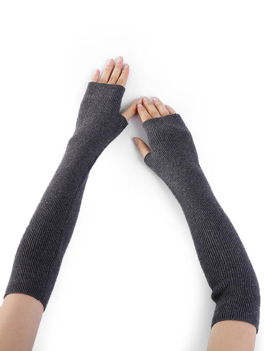Soft Striped Pattern Knitted Fingerless Gloves - DEEP GRAY