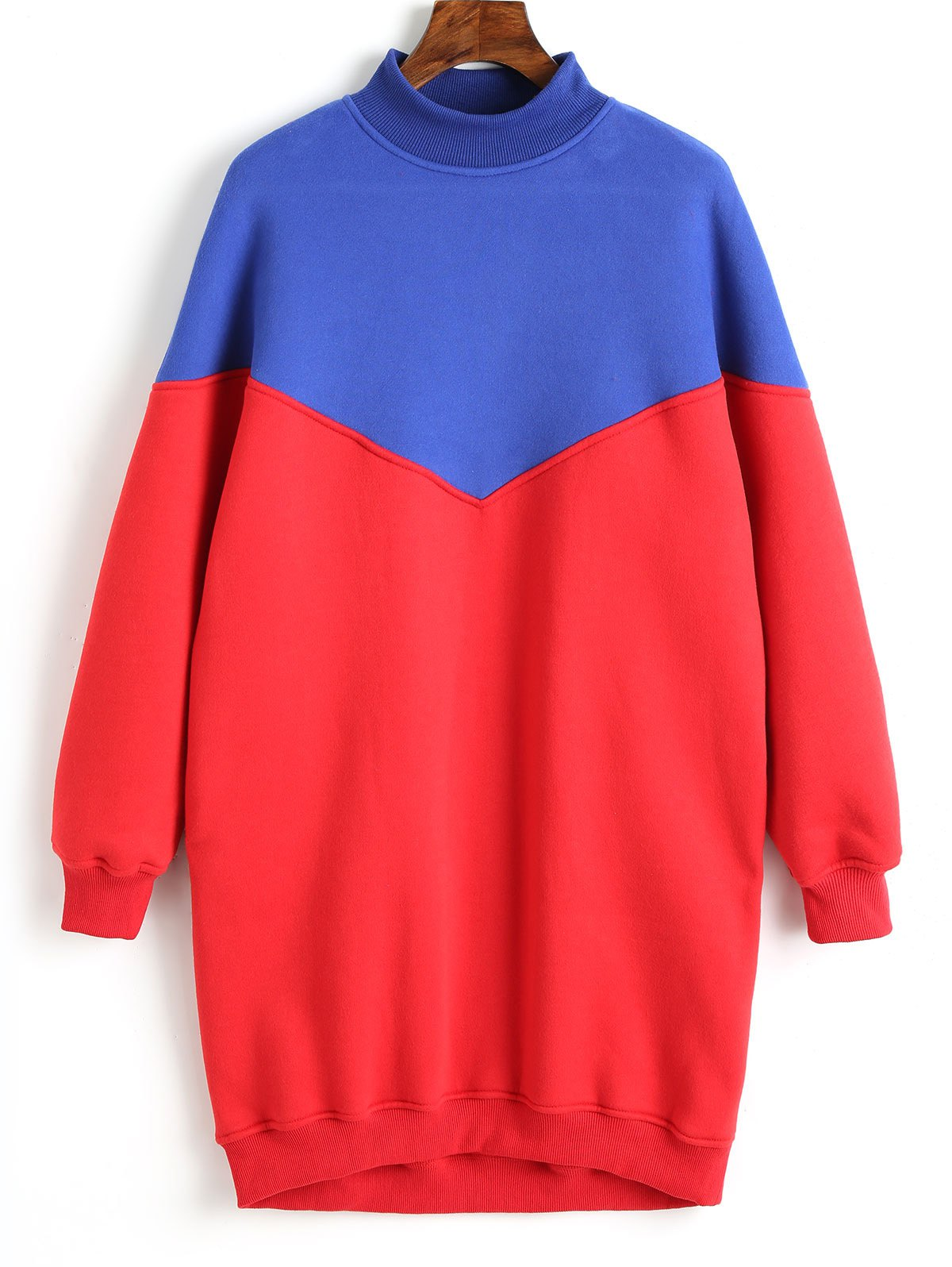 Two Tone Longline Sweatshirt - RED M