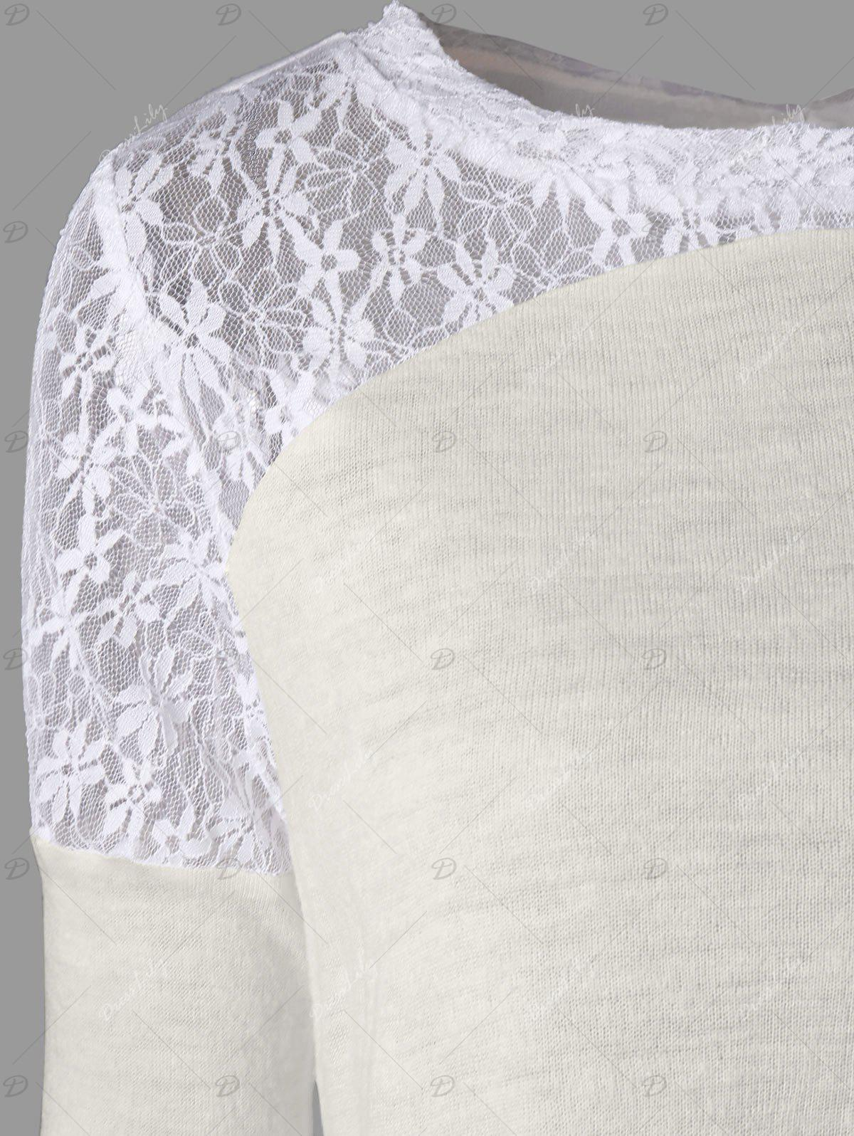 Long Sleeve Back Tie Up Lace Insert Top - OFF WHITE L