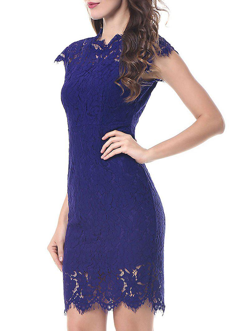 Vintage Fitted Lace Dress - BLUE M