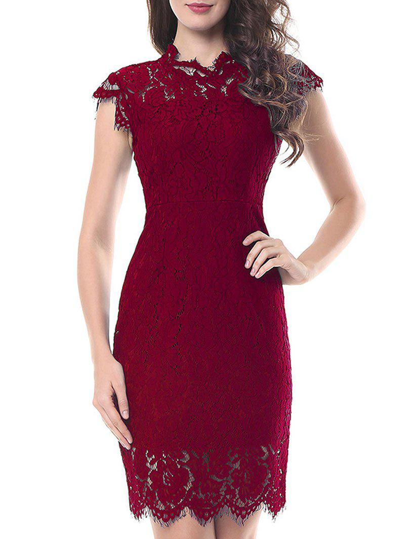 Vintage Fitted Lace Dress - WINE RED XL