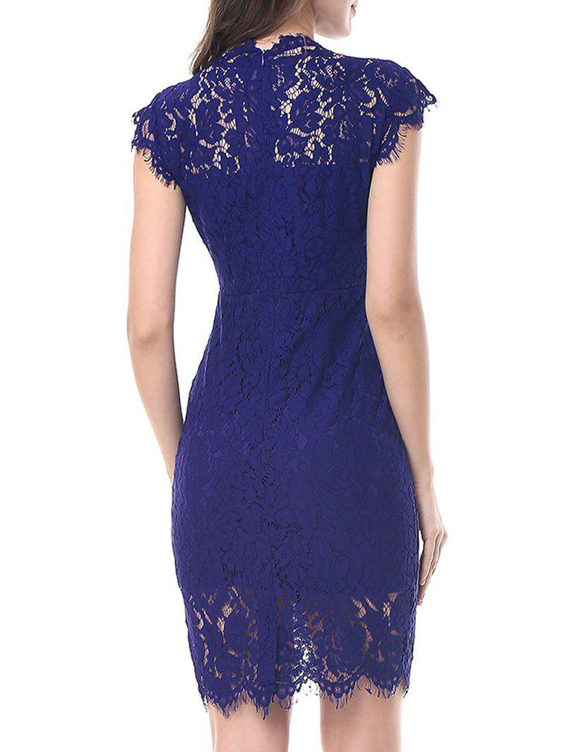 Vintage Fitted Lace Dress - BLUE L