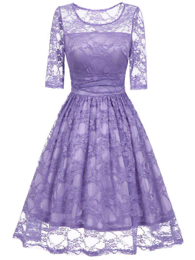 Vintage Fit and Flare Party Lace Dress - PURPLE L