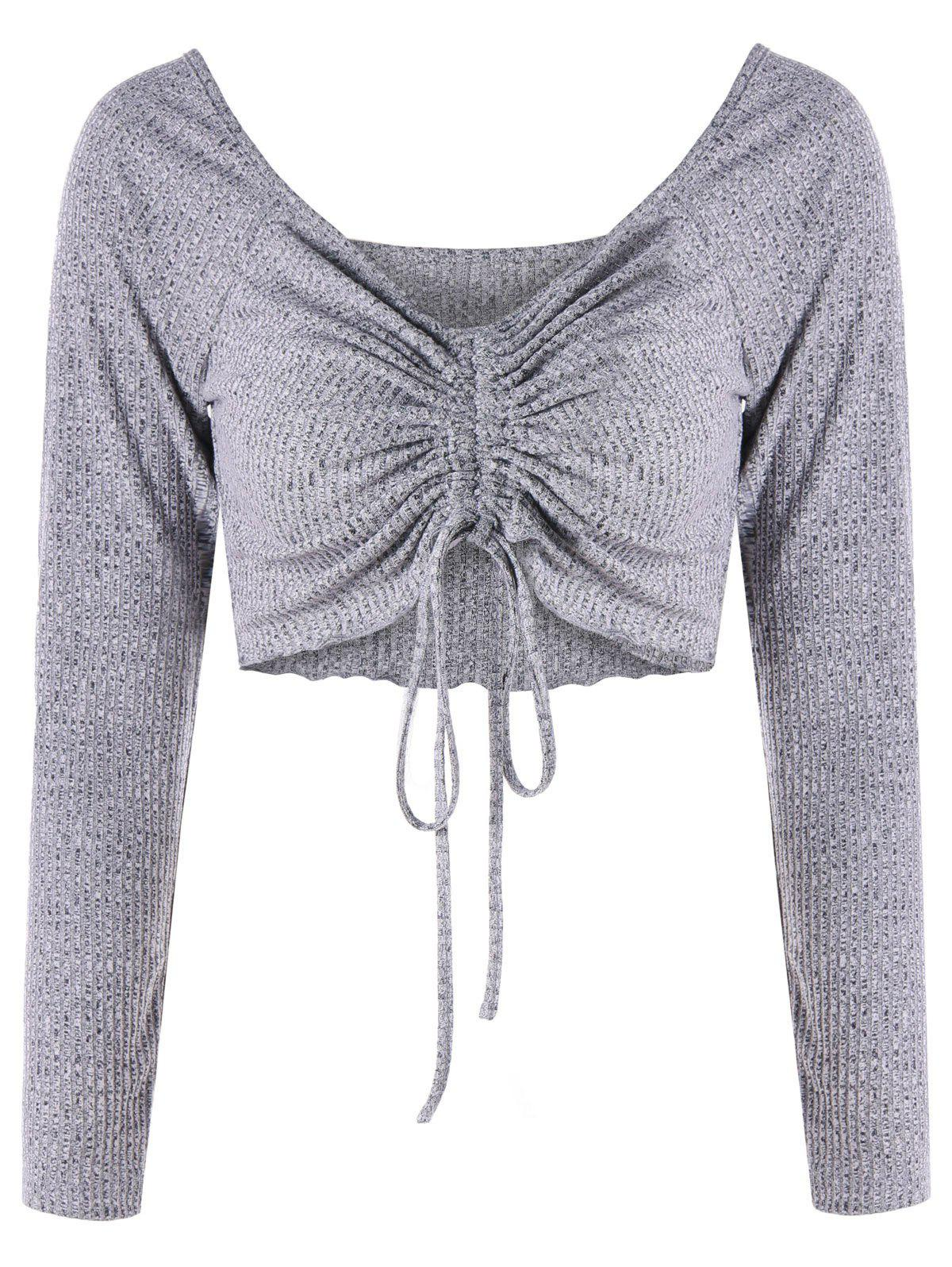 Low Cut Empire Waist Cropped Top - GRAY 2XL