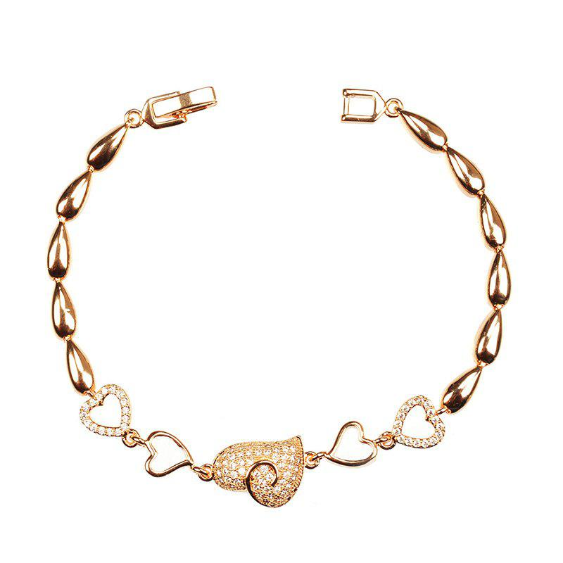 Rhinestone Alloy Heart Chain Bracelet - GOLDEN