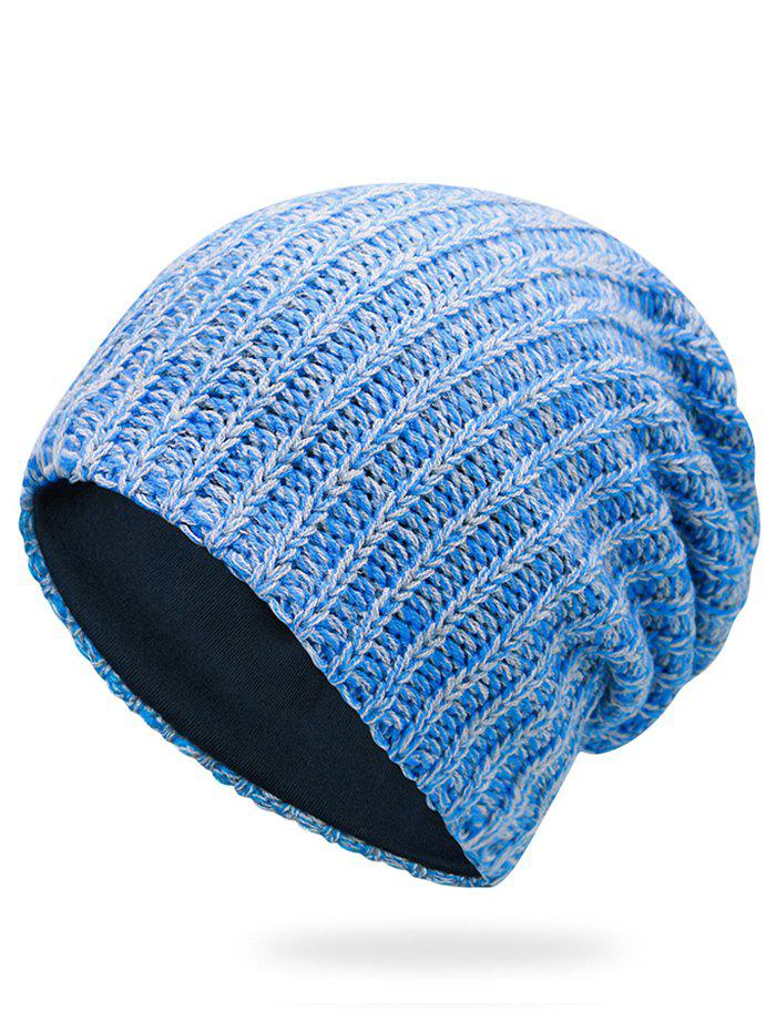 Outdoor Stripe Pattern Crochet Knitting Slouchy Beanie - BLUE