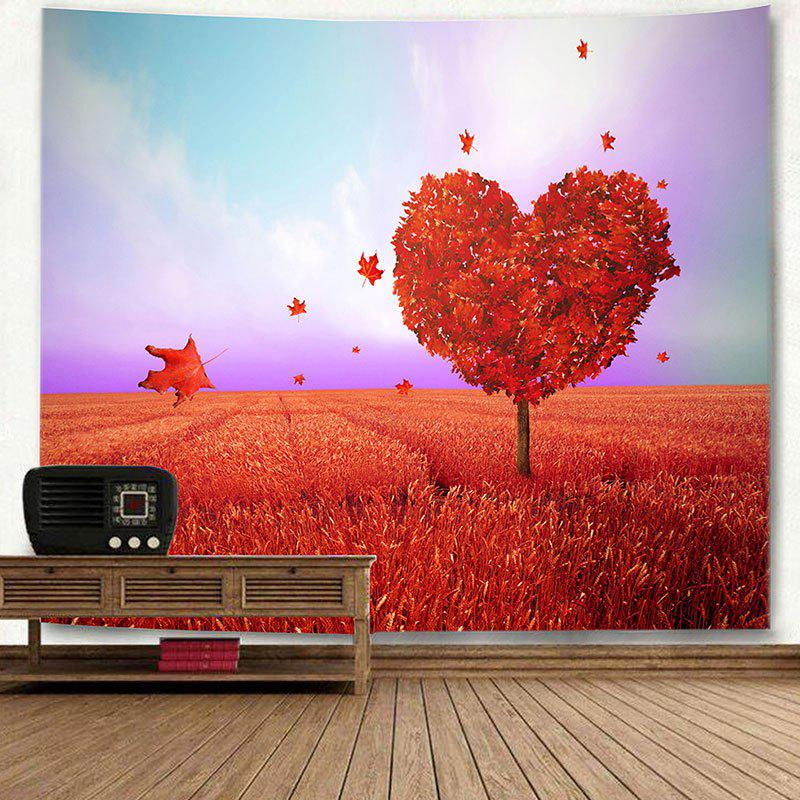 Valentine's Day Love Heart Tree Printed Novelty Wall Tapestry - RED W71 INCH * L71 INCH