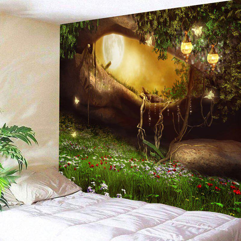 Fantasy Forest Hole Pattern Wall Decor Tapestry Colormix W91 Inch L71