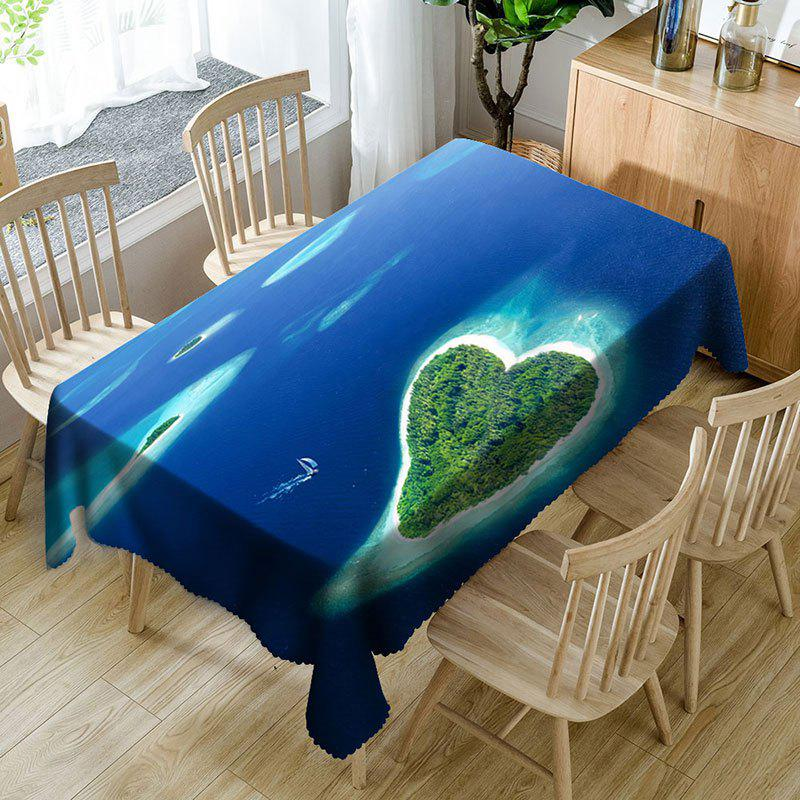 Tissu de table imperméable en microfibre Heart Islands Pattern - Bleu W54 INCH * L72 INCH