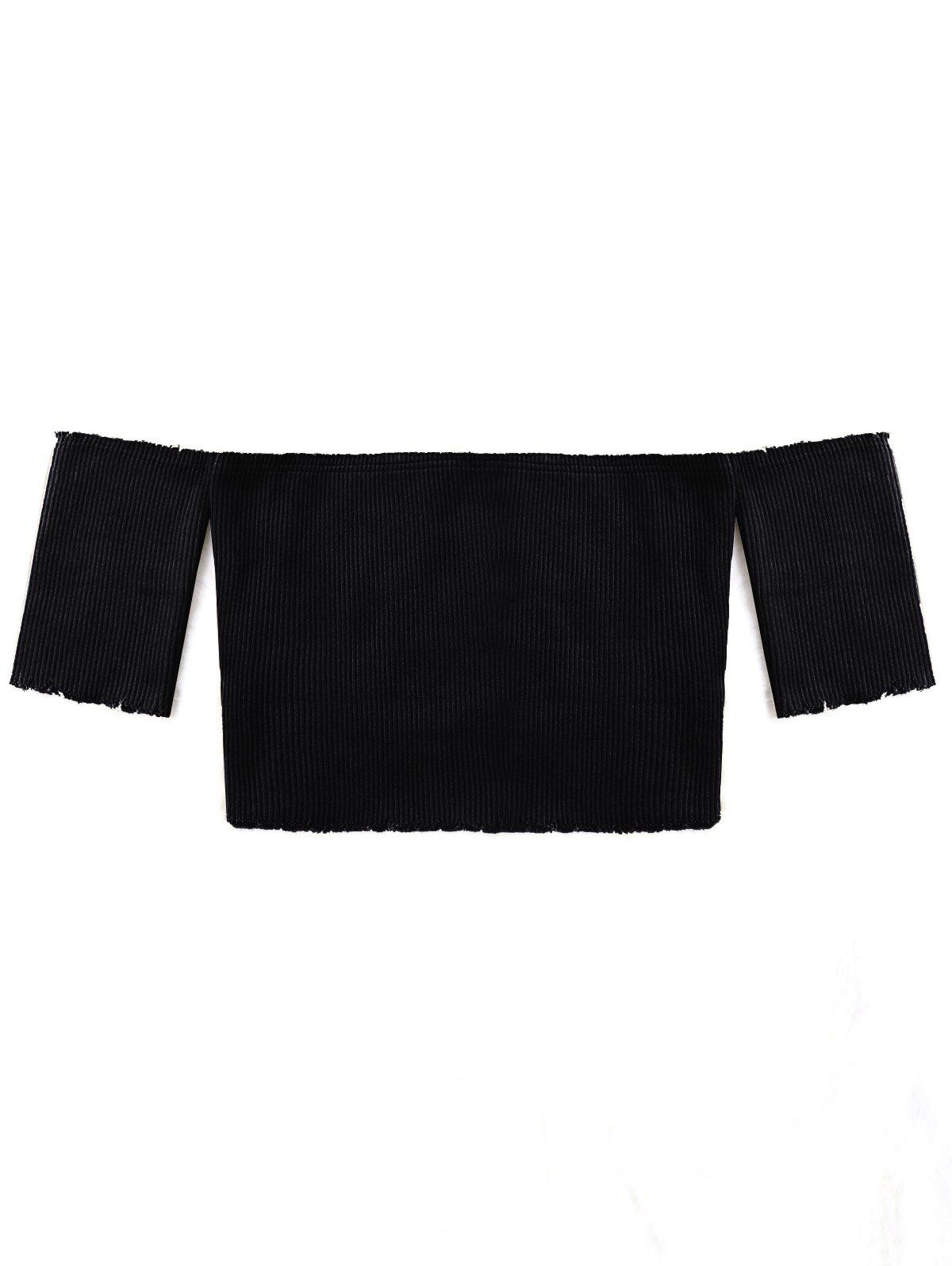 Short Sleeve Raw Edge Ribbed Cropped Knitwear - BLACK M