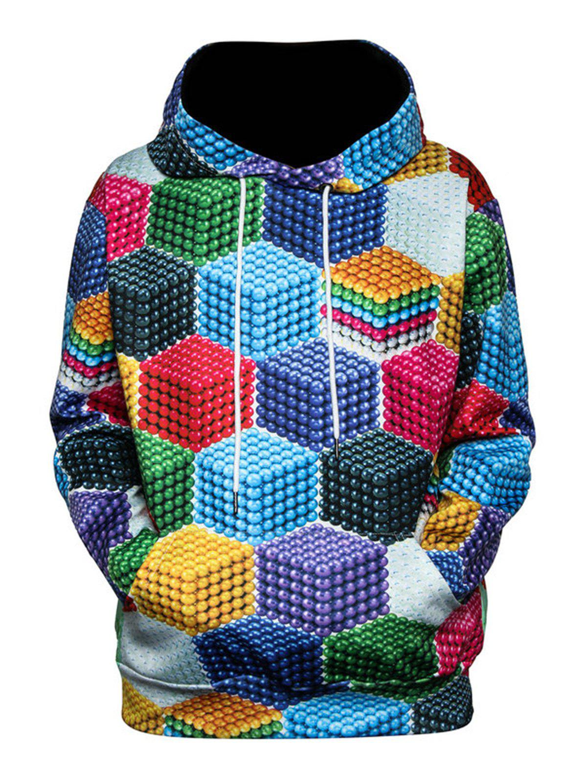 Magnetic Balls Color Block 3D Print Pullover Hoodie, Colormix