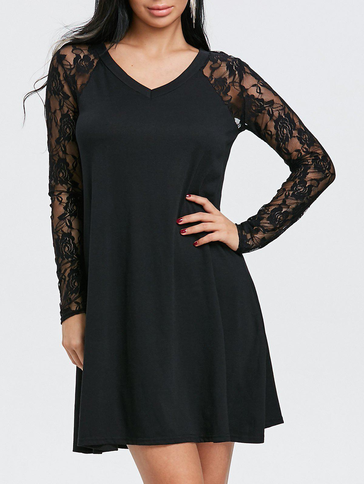 V Neck Floral Lace Panel Tunic Dress - BLACK M