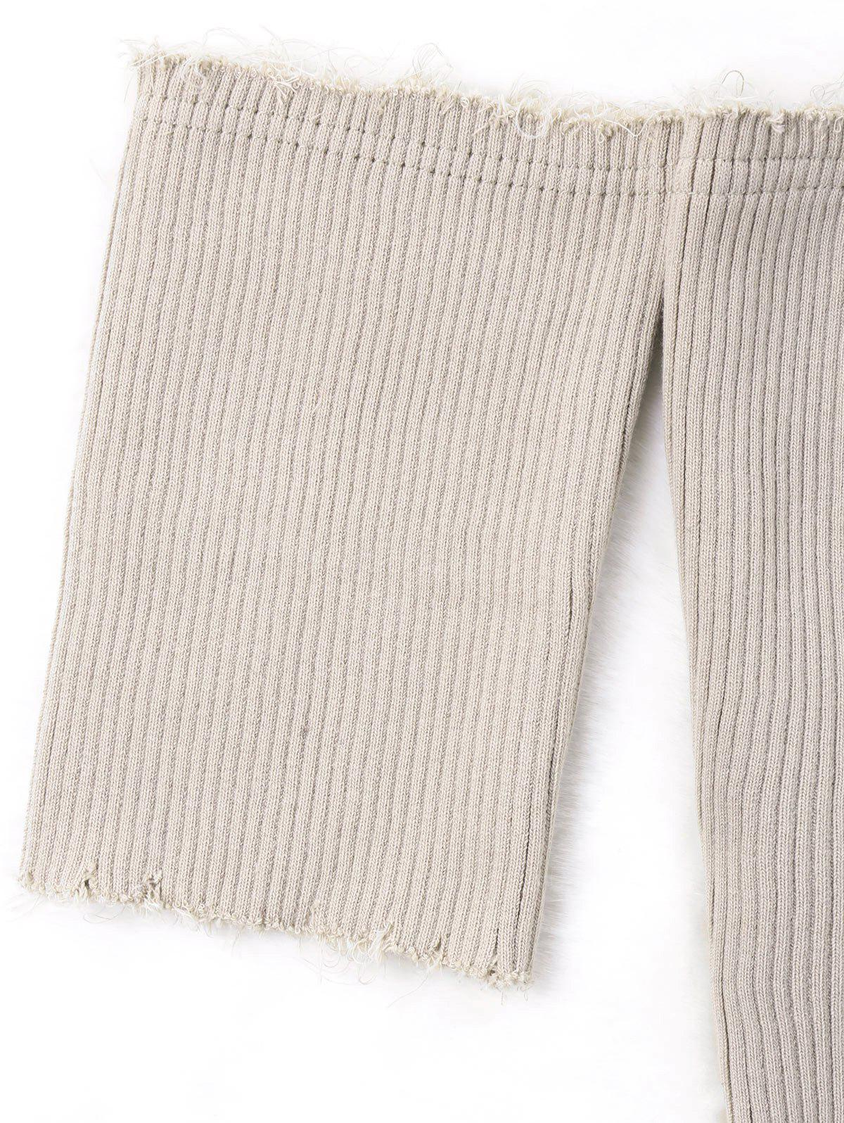 Short Sleeve Raw Edge Ribbed Cropped Knitwear - KHAKI M