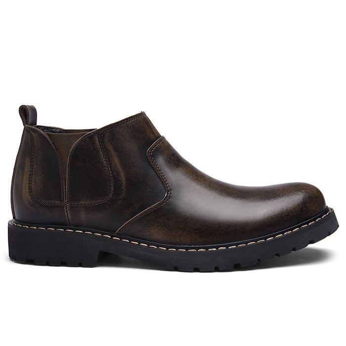 Faux Leather Slip-On Ankle Boots - DEEP BROWN 42