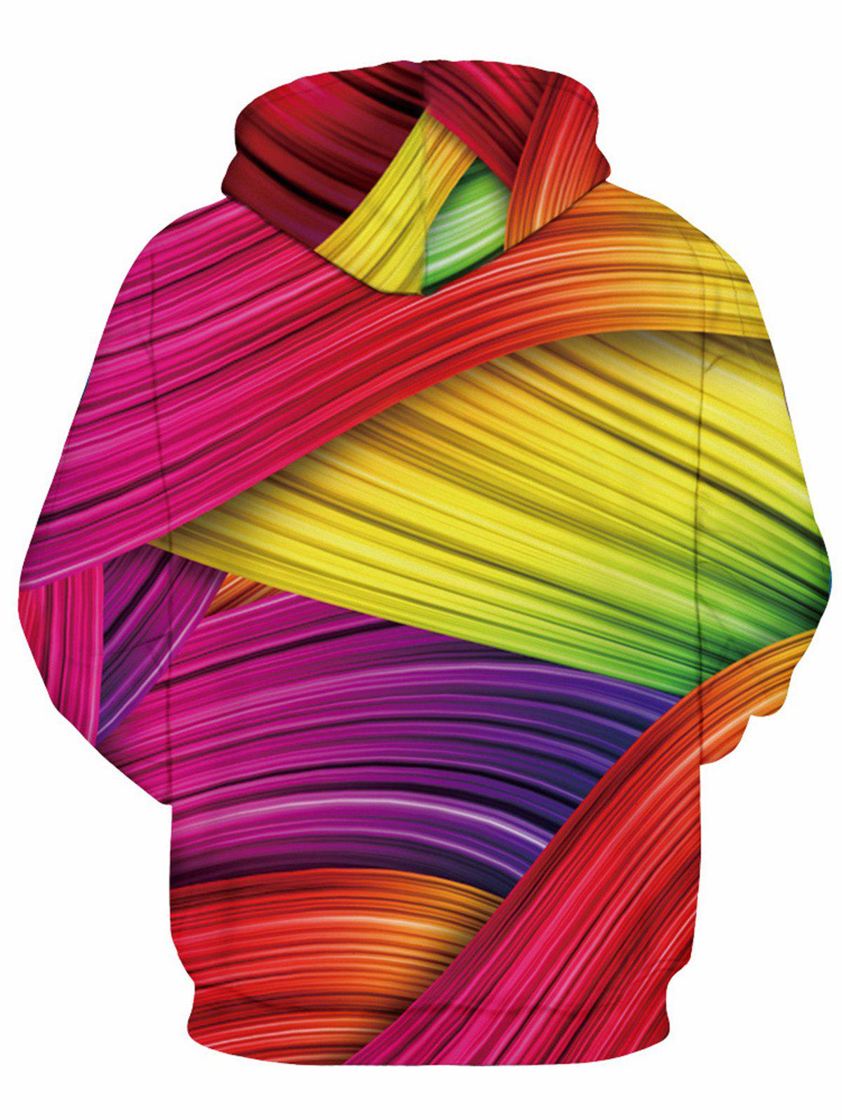 Rainbow Colorful 3D Print Pullover Hoodie - COLORMIX XL