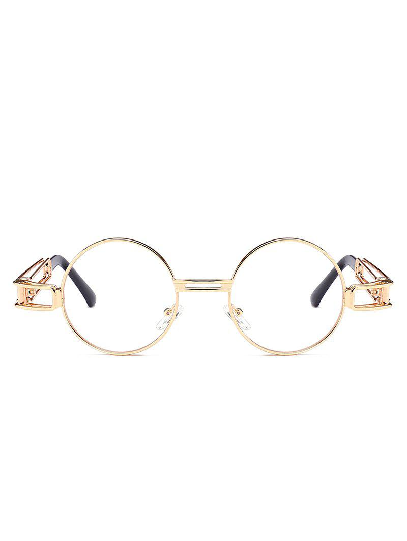 Hollow Out Metal Frame Embellished Round Sunglasses - CLEAR WHITE