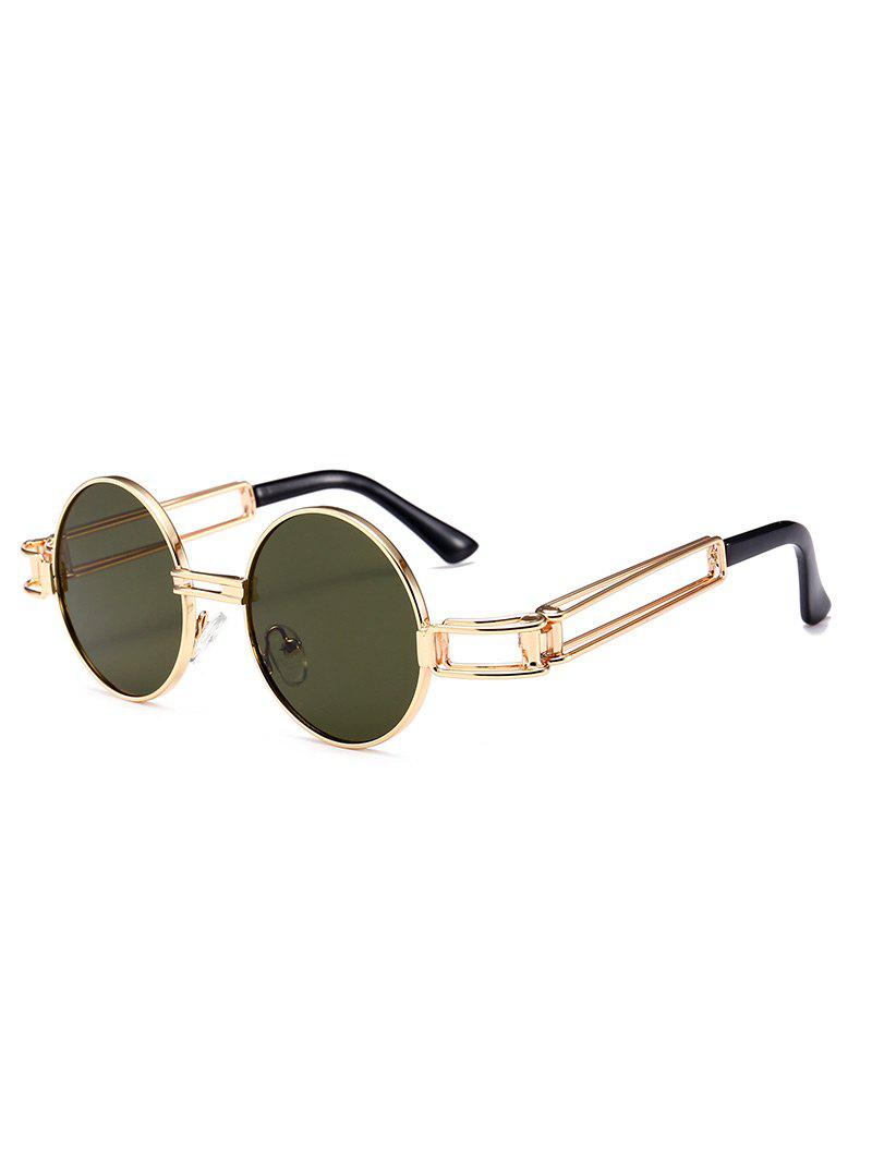 Hollow Out Metal Frame Embellished Round Sunglasses - BLACKISH GREEN