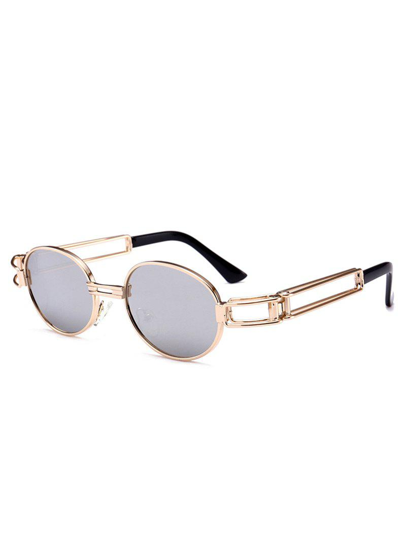 Anti UV Hollow Out Decorated Metal Full Frame Oval Sunglasses - REFLECTIVE WHITE COLOR