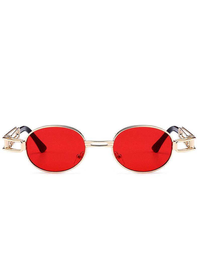 Anti UV Hollow Out Decorated Metal Full Frame Oval Sunglasses - RED