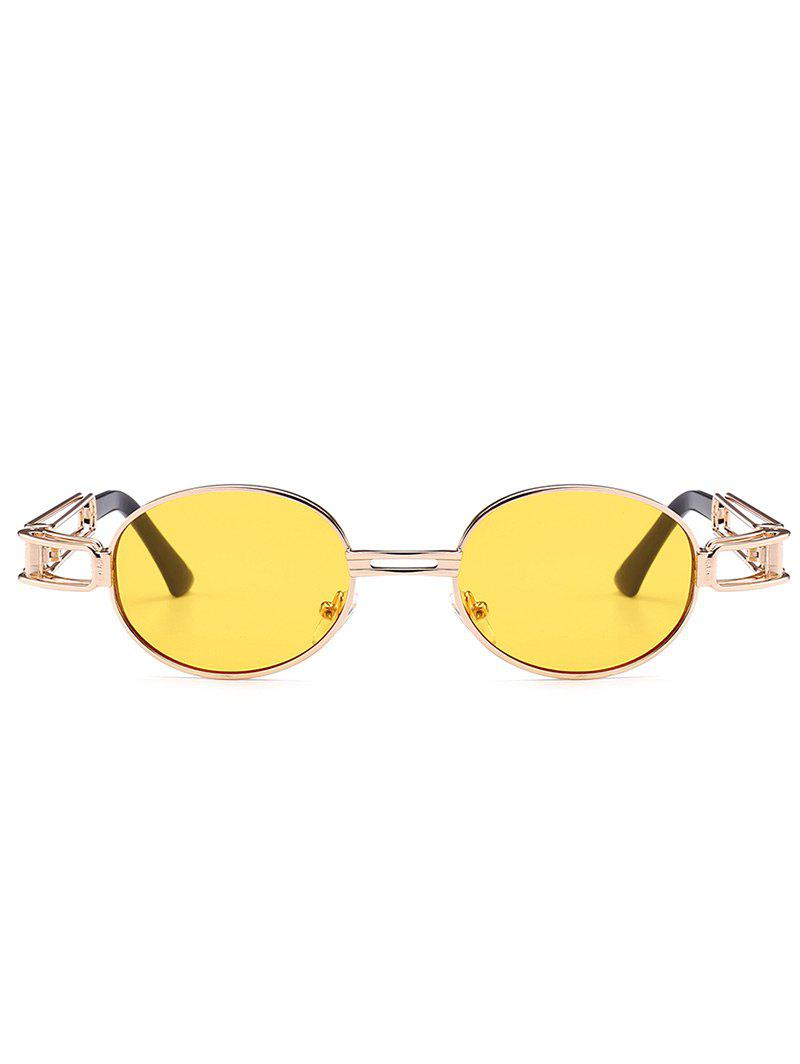Anti UV Hollow Out Decorated Metal Full Frame Oval Sunglasses - YELLOW
