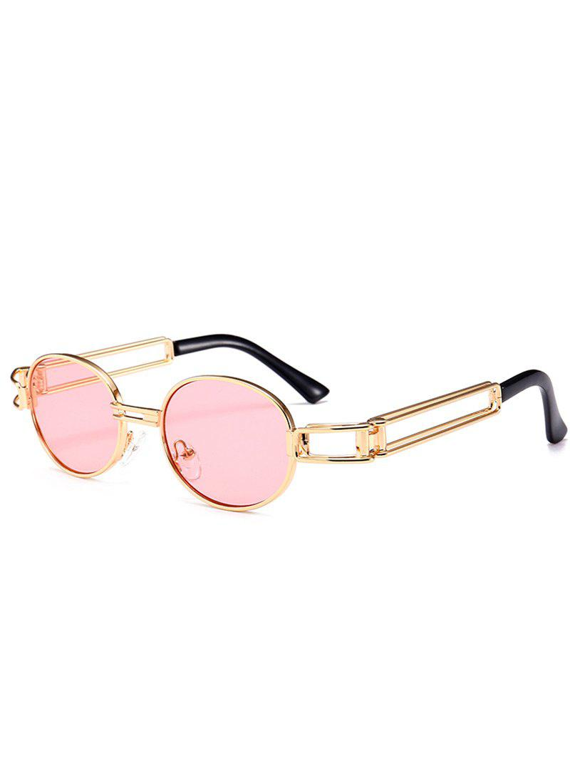 Anti UV Hollow Out Decorated Metal Full Frame Oval Sunglasses - PINK