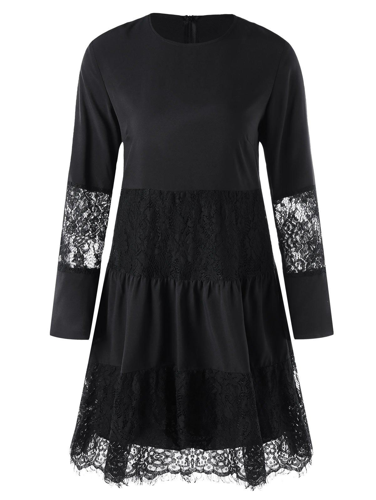 Lace Insert Dress with Slip Dress - BLACK M
