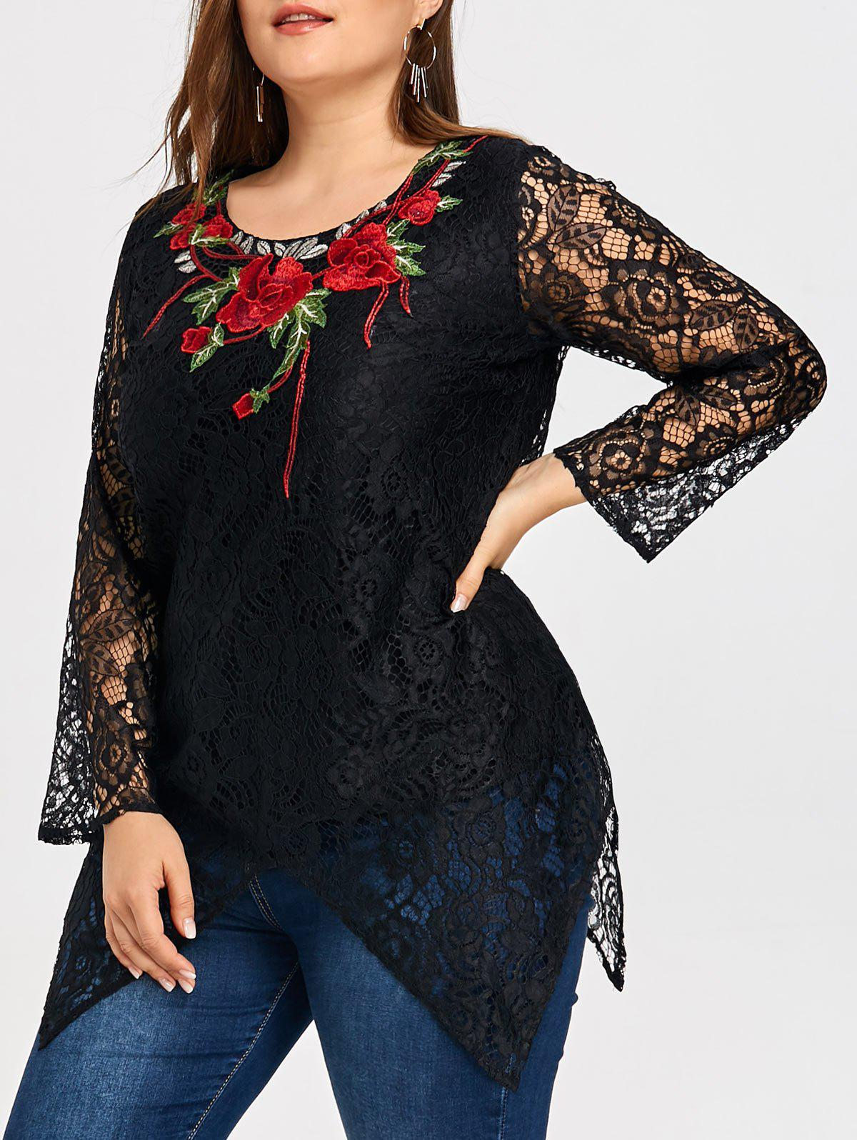 Plus Size Lace Floral Embroidered Asymmetric  Blouse - BLACK 5XL