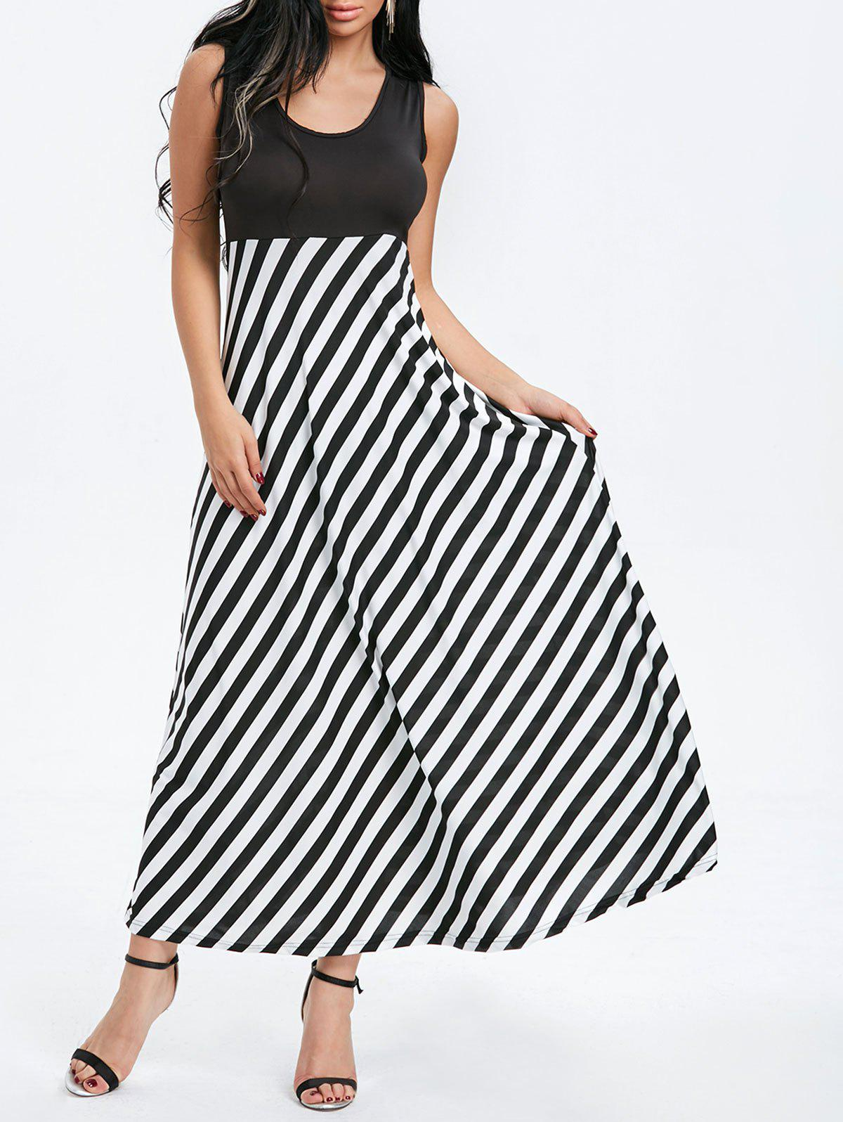 Striped Sleeveless Maxi Dress - BLACK L
