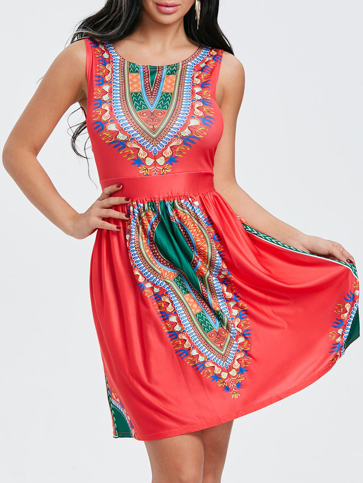 Sleeveless Ethnic Print Dress - RED M