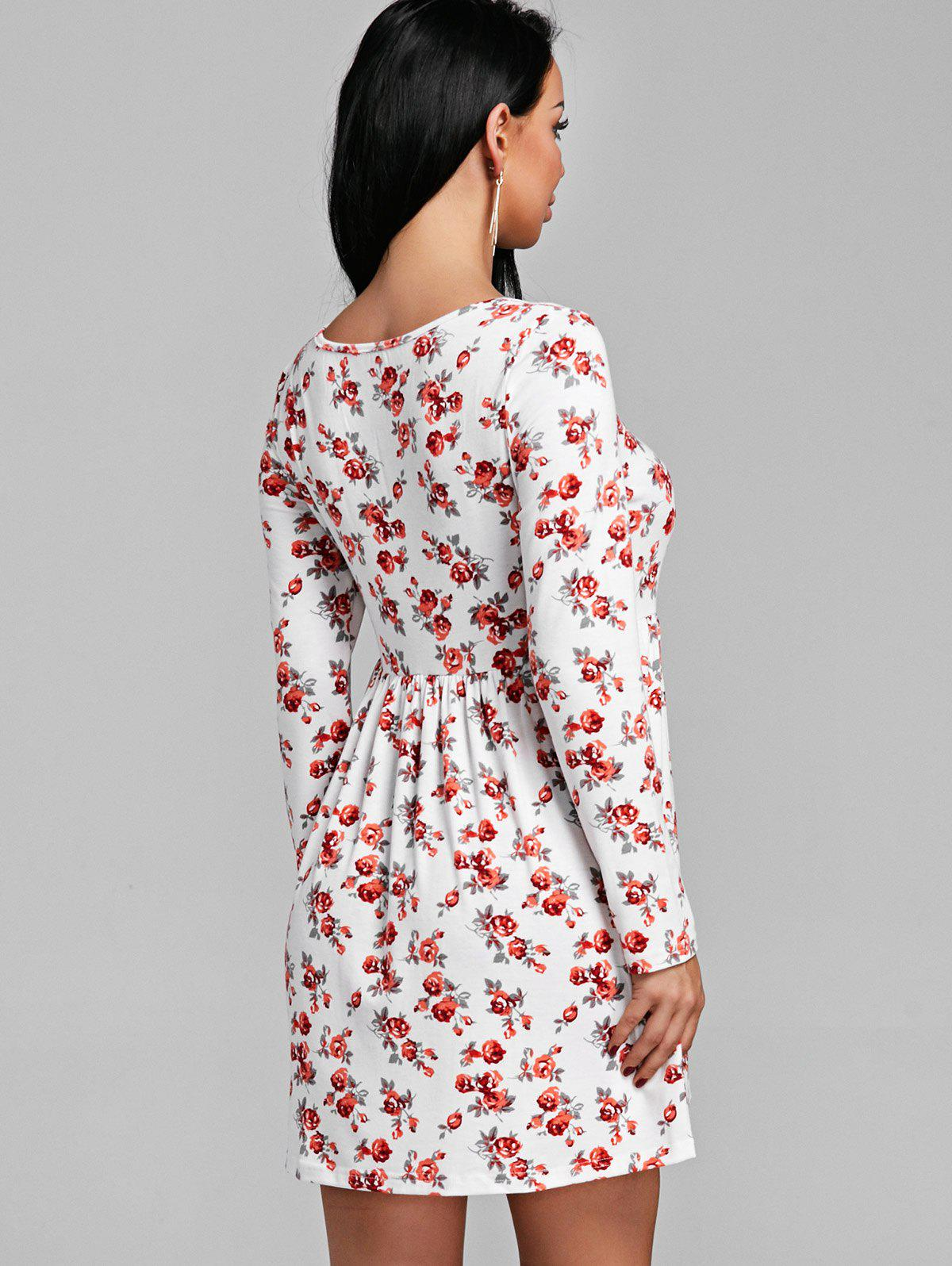 Tiny Floral Print Long Sleeve Dress - RED L
