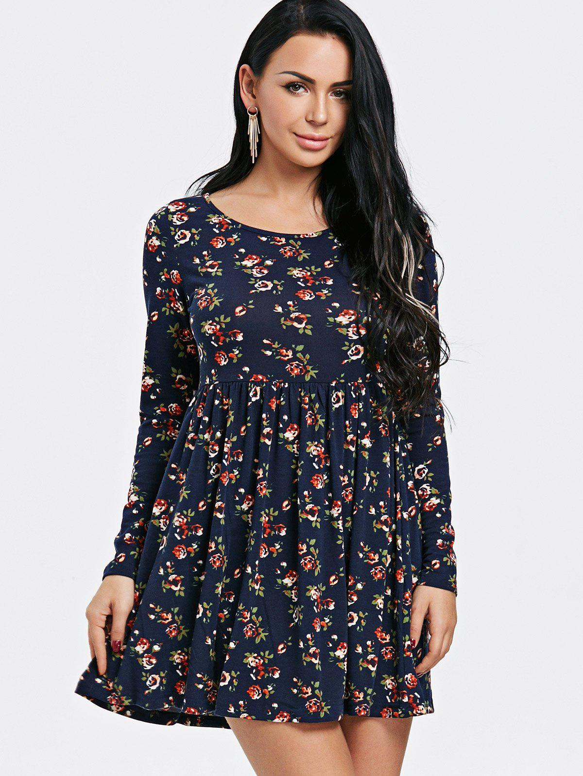 Tiny Floral Print Long Sleeve Dress - PURPLISH BLUE 2XL