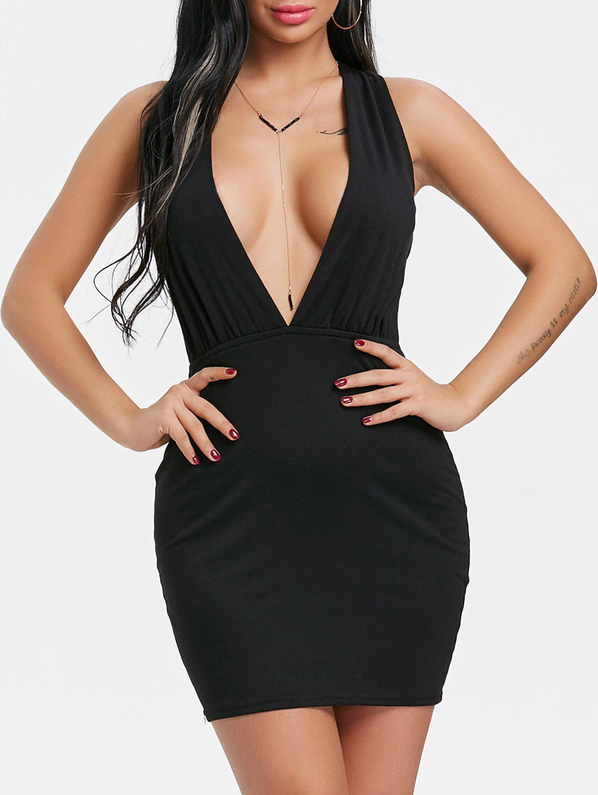 Plunging Neck Strappy Back Dress - BLACK L