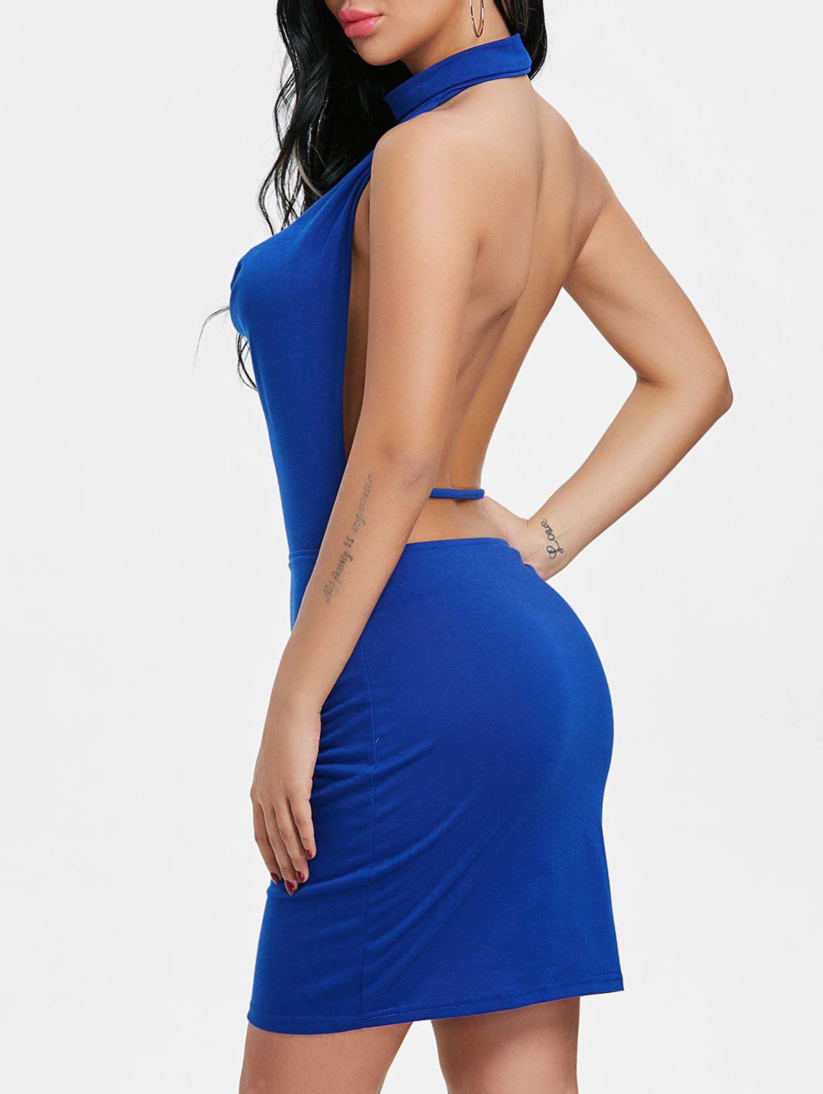 Backlesss Draped Halter Neck Dress with Choker - BLUE M