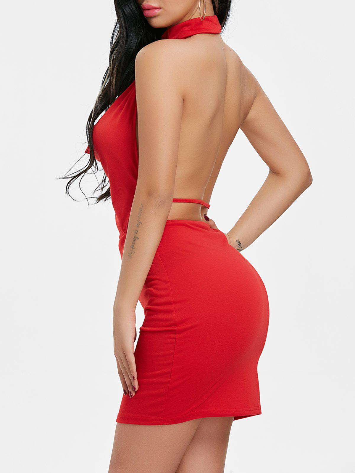 Backlesss Draped Halter Neck Dress with Choker - RED M