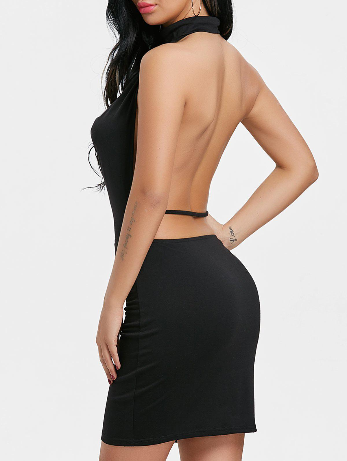 Backlesss Draped Halter Neck Dress with Choker - BLACK XL